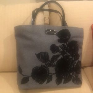 Gray flannel with black floral tote